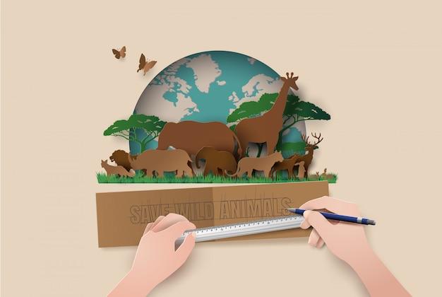 Siluetas animales papel cortado estilo. salvar animales