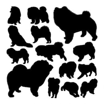 Siluetas de animales de perro chow chow