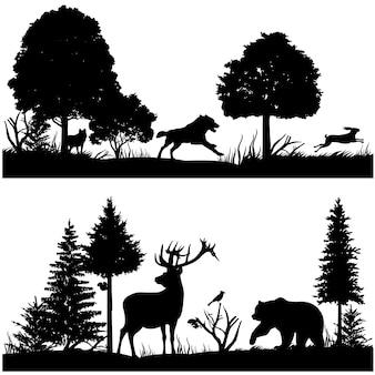 Siluetas de animales salvajes en la ilustración de vector de bosque de abeto verde