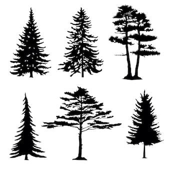 Siluetas de árboles coníferos, colección