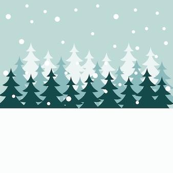 Siluetas de árboles de navidad en invierno en tarjeta de navidad
