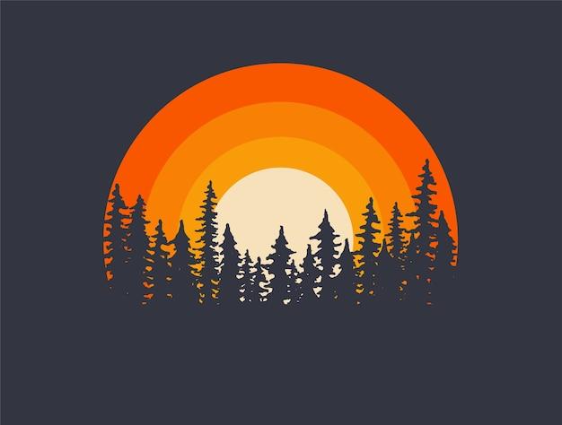 Siluetas de árboles de paisaje forestal con puesta de sol en el fondo. ilustración de camiseta o cartel.
