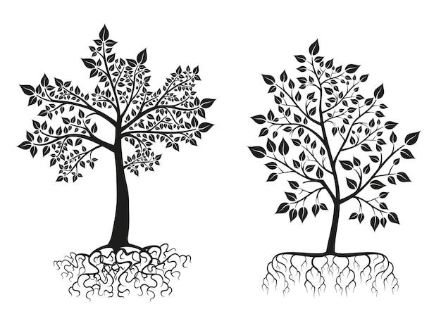 Siluetas de árboles y raíces negras con hojas