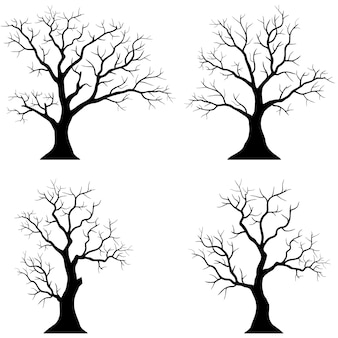 Siluetas de árboles sobre fondo blanco