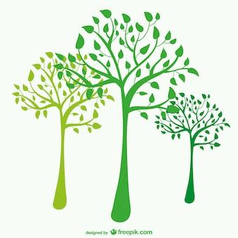 Siluetas de árboles verdes