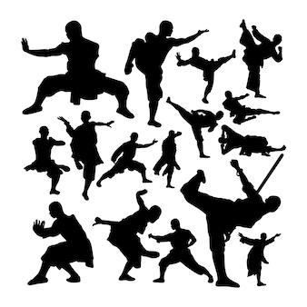 Siluetas de arte marcial de monje shaolin