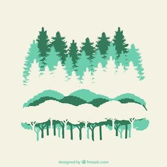 Siluetas de bosque