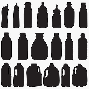 Siluetas de botella de leche