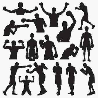 Siluetas de boxeo