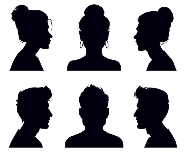 Siluetas de cabeza masculinos y femeninos. perfil de personas y retratos de rostro completo, retratos de sombras anónimos
