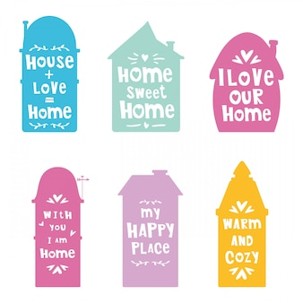 Siluetas de casas con letras, frases.