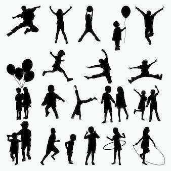 Siluetas de actividad de los niños