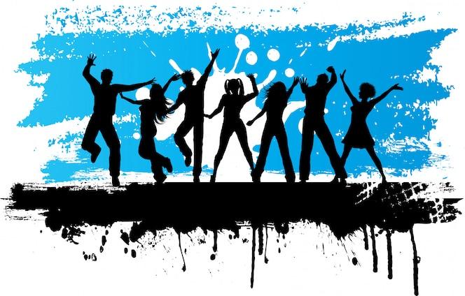Siluetas de personas bailando sobre un fondo grunge