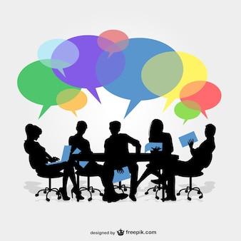 Siluetas de reunión de negocios con colores