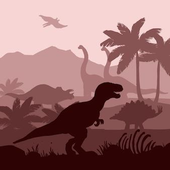 Los siluetas de los dinosaurios acodan la ilustración de la bandera del fondo.