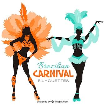 Siluetas de disfraces de carnaval brasileño