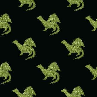 Siluetas de dragón verde sobre fondo negro de patrones sin fisuras.