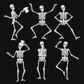 Siluetas de esqueletos humanos bailando en diferentes poses aisladas