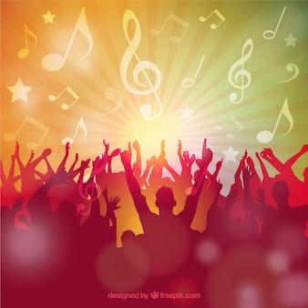 Siluetas de fiesta de música