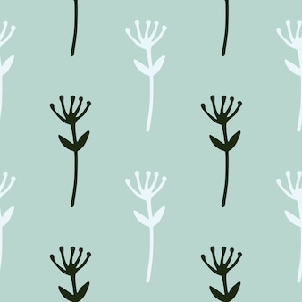 Siluetas de flores minimalistas de patrones sin fisuras. elementos botánicos en blanco y negro sobre fondo azul.