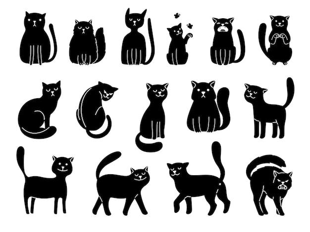 Siluetas de gatos en blanco. iconos de gato elegante, ilustración de vector de colección de animales negros de curiosidad de divertidos dibujos animados aislado sobre fondo blanco