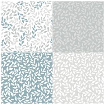 Siluetas de hojas idénticas establecer patrones sin fisuras. dibujado a mano ilustración en estilo de dibujos animados simple doodle escandinavo. ramas aisladas en una paleta de colores pastel azul grisáceo