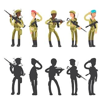 Siluetas de hombre y mujer militar, ilustración de personajes de dibujos animados