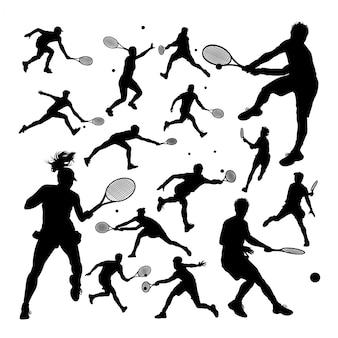 Siluetas de jugadores de tenis