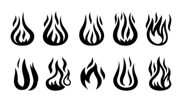 Siluetas de llamas. iconos de disparo negro, símbolos de advertencia aislados en blanco.