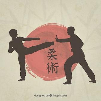 Siluetas de luchadores de artes marciales