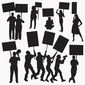 Siluetas de manifestantes enojados