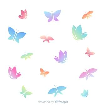 Siluetas de mariposas volando en color degradado