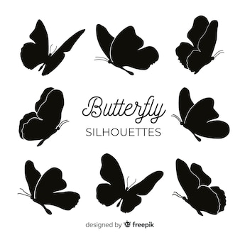Siluetas de mariposas volando