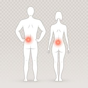 Siluetas masculinas y femeninas con círculos de dolor en el fondo transparente.