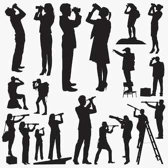 Siluetas mirando a través de binoculares y telescopios.