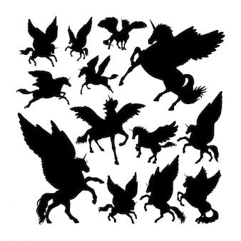 Siluetas de la mitología de la antigua criatura de pegaso.