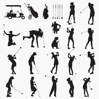 Siluetas de mujer golfista