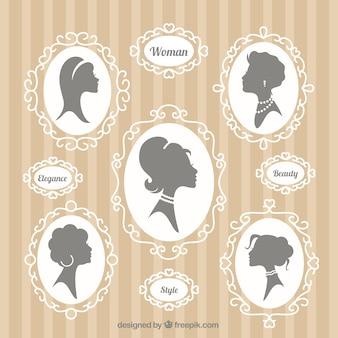 Siluetas de mujer ornamentales