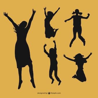 Siluetas de mujeres felices vector gratuito