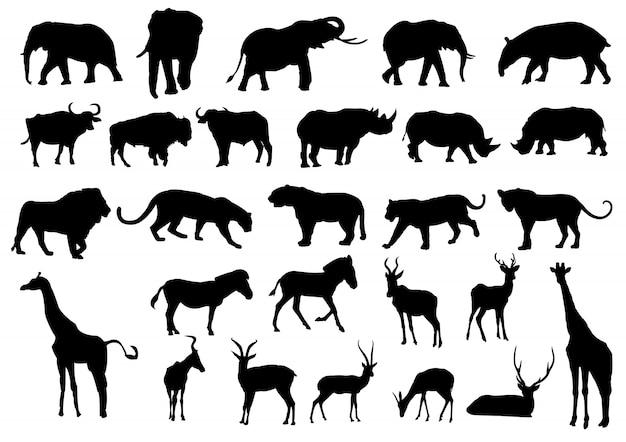 Siluetas negras de animales salvajes