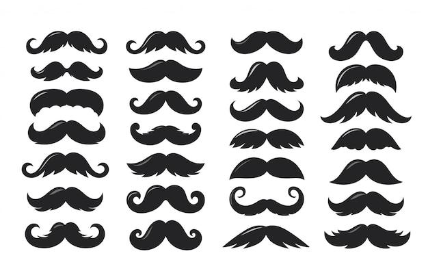 Siluetas negras de bigote colección de vectores aislado