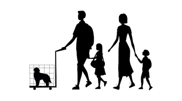 Siluetas negras de familia con laggage, perro en la jaula y bolso aislado sobre fondo blanco.