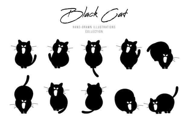 Siluetas negras de gatos para halloween, ilustración dibujada a mano.