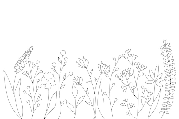 Siluetas negras de hierba, flores y hierbas. elementos florales simples minimalistas. botánico natural. boceto gráfico. flores dibujadas a mano. diseño para redes sociales. contorno, línea, estilo doodle.