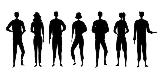 Siluetas negras de hombres y mujeres de personas aisladas sobre fondo blanco.