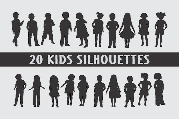 Siluetas de niños en diferentes poses conjunto de formas
