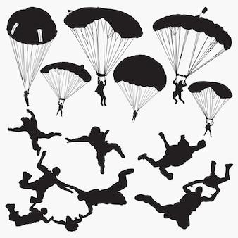 Siluetas de paracaidismo