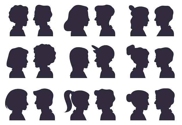Siluetas de perfil facial. siluetas de cabezas masculinas y femeninas, retratos de avatar de mujer y hombre vector plano