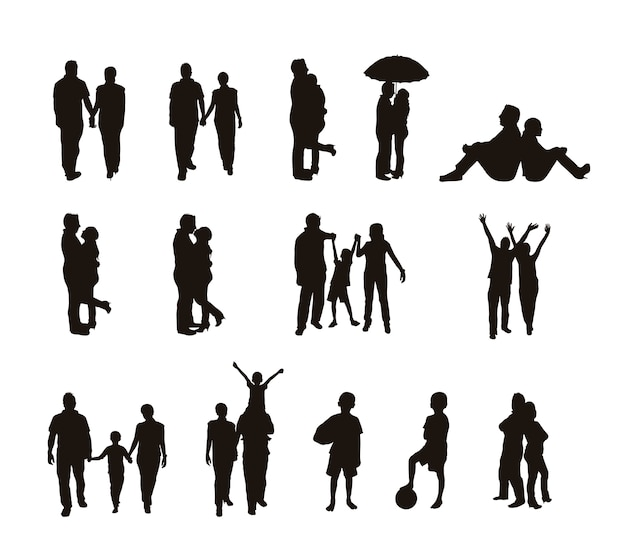 Siluetas de personas aisladas sobre fondo blanco ilustración vectorial