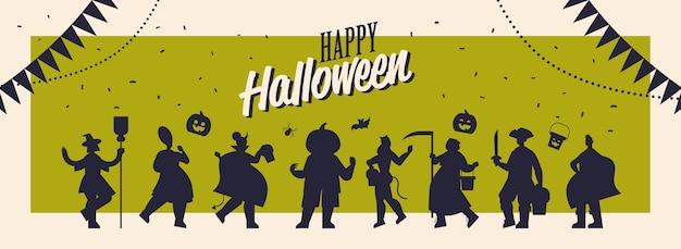 Siluetas de personas en diferentes disfraces celebrando el concepto de fiesta de halloween feliz tarjeta de felicitación de letras ilustración vectorial horizontal de longitud completa